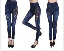 Premium Jeans-Print Leggins with Floral Design Lavantine Brand NEW!