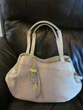 vintage radley cream/pale green summer cotton/leather large bag