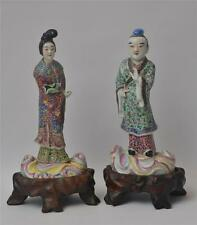 19th Century Chinese Fine Porcelain Statues on Wood Bases