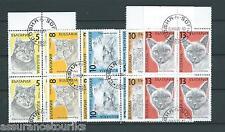 BULGARIE - CHATS 1989 YT 3287 à 3291 blocs de 4 - TIMBRES OBL. / USED