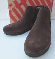 FITFLOP Women's Superchelsea Leather Ankle Boot Chelsea Brown Suede UK 5  US 7