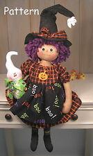 PATTERN Primitive Raggedy Halloween Ann Witch Ghost Fabric Cloth Doll Folk Art
