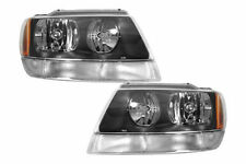 1999 - 2004 JEEP GRAND CHEROKEE HEADLIGHT LAMP LEFT & RIGHT PAIR W/BLK & WHT SIG