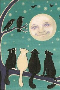 4X6 HALLOWEEN POSTCARD PRINT LE 26/27 RYTA VINTAGE STYLE BLACK CAT MOON CROW ART