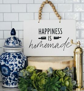 HAPPINESS is Homemade Hanging Sign Black White Hamptons Coastal Home Decor
