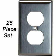 25 Pack Stainless Steel Outlet Cover Single Duplex Receptacle Metal Wall Plates
