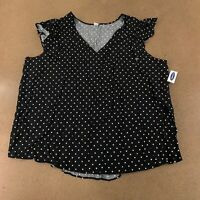 Old Navy Women's Size XXL Black White Dots Flutter-Sleeve V-Neck Top NWT
