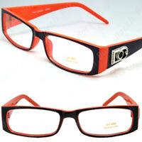 New Womens Orange Clear Lens Frame Eye Glasses Rectangular RX Fashion Designer