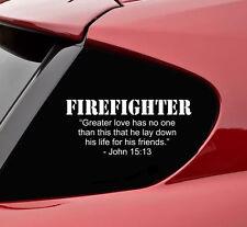 Firefighter greater love vinyl decal sticker bumper funny rescue emt ems truck