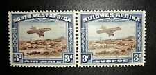 South West Africa 1931, Airmail 3d Unused Pair, MH, Full Gum, Superb