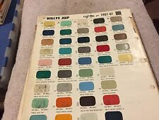 1961,1962,1963,1964,1965,1966,1967,  JEEP ,WILLYS,  PAINT CHIPS CHART