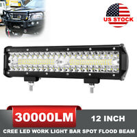 12 Inch LED Work Light Bar Spot Flood Beam Offroad Fog Driving 4WD 4x4 Reverse