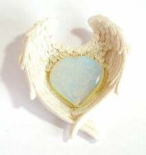 REIKI ENERGY CHARGED OPALITE CRYSTAL HEART IN ANGEL WINGS DISH GIFT WRAPPED