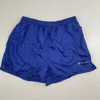 VTG Champion Shiny Nylon Short Shorts Men's Sz L Script Logo Mesh Liner