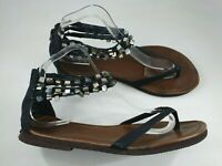 Size 8 / 9 black faux snakeskin leather beaded strappy zip up flip flop sandals