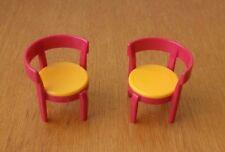 Playmobile lot 2 chaises rose jaune salon salle à manger jardin maison moderne