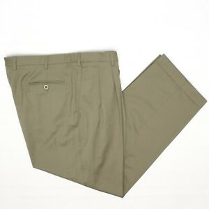 Brioni Cannes Mens Dress Pants 38x29 Solid Olive Green Pleated Wool Trousers