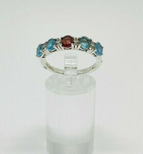 Gorgeous TGGC Blue Topaz & Garnet Stones Band Ring 925 Silver Size R~R1/2 #13832