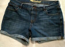 Women's Old Navy Denim Blue Jean Shorts Size 8 Stretch Cuffed Bottoms BOYFRIEND