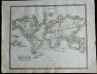 World Map on Mercator's Projection 1846 scarce map