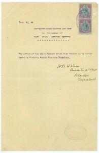 "NYASALAND -1920 ""COMPANIES"" doc 2/6 (x2)  KGV (ES604b)"