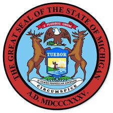 """Michigan State Seal car bumper sticker decal 4"""" x 4"""""""