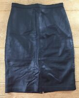 Jaclyn Smith Womens Genuine Leather Skirt Black Size 6 Knee Length Pencil