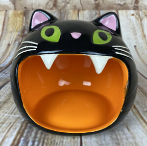 Ceramic Black Cat Open Mouth Candy Dish or Soap Holder 2018 Target Halloween NWT