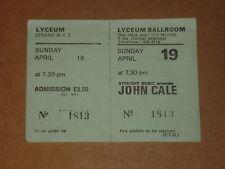 John Cale (Velvet Underground) 1981 Lyceum, London complete Concert Ticket