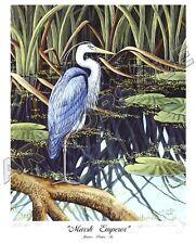 """GREAT BLUE HERON """"MARSH EMPEROR"""" 8x10 L/E S/N LITHOGRAPH by James Partee Jr."""