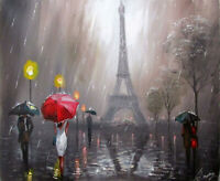 100%Hand-painted Art Oil Painting Cityscape  Eiffor Tower 16*20inch  Decoration