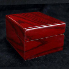 Red Vintage Handmade Wood Watch Display Case Box Jewelry Collector Storage