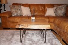 solid wood red oak coffee table rustic hand made unique live edge