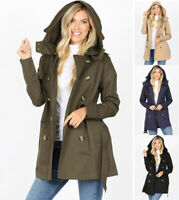 Women's Trench Coat Jacket Double Breasted Belted Hooded Buttons Pockets Cotton