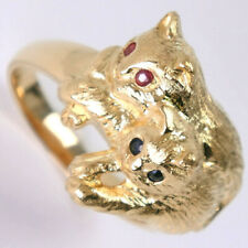 Cat Ring K18 yellow gold/sapphire/Ruby #15(JP Size) unisex