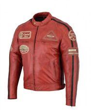 Veste En Cuir Moto Homme,Rouge Vintage, Cafe Racer, Lederjacke, Retro, Rocker
