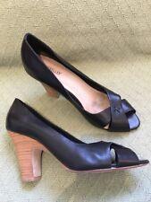 Seychelles Black Open Toe Heels Size 9