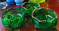 EAPG Three BERRY BOWLS by Riverside Glass Esther Emerald Green w Gold Flash