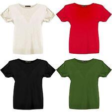New Womens Plus Size Fishnet Insert Turn Up Sleeve T-Shirt Tops 8-22