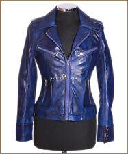 Ladies Smart Military Leather Jacket Genuine Lambskin Leather Blue Biker Jacket
