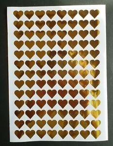 15mm Gold Heart Shape Stickers x 104 Metallic Vinyl Wedding Invite Favours