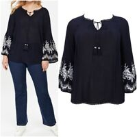 NEW Evans Ladies NAVY Embroidered Bell Sleeve Top Size 14 - 26 RRP 30