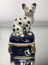 Vintage Adorable Ff 1981 Fitz & Floyd Cat Trinket Box Staffordshire Reproduction