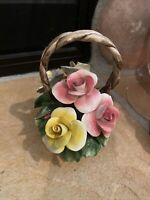 "Capodimonte Vintage Nuova, Italy Porcelain Rose Flower Basket 4.5"""