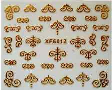 3D Nail Art Decals Transfer Stickers Gold Coloured Patterns (3D6012)