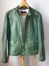 Dsquared2 Men Leather Jacket Zip Up Bomber Green Size 52 Dsquared RRP1600$