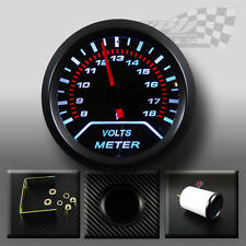 Battery Volt gauge white led smoked dial face black surround interior dash 52mm