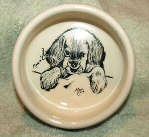 "Vintage **MASON CASH** Ceramic Blue/White, Dog, Feeding 5"" Bowl w/Puppy Inside"