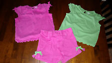 GYMBOREE Bright Tulips Pink Tee, Green Tee & Pink Tulip Pocket Shorts 12-18 mos