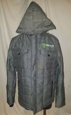 Monster Energy Mens Hooded Jacket, Size Small, Grey Plaid, Zipper & Pockets
